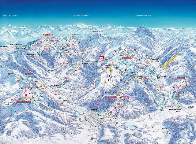 Kützbühel ski mapka on-line